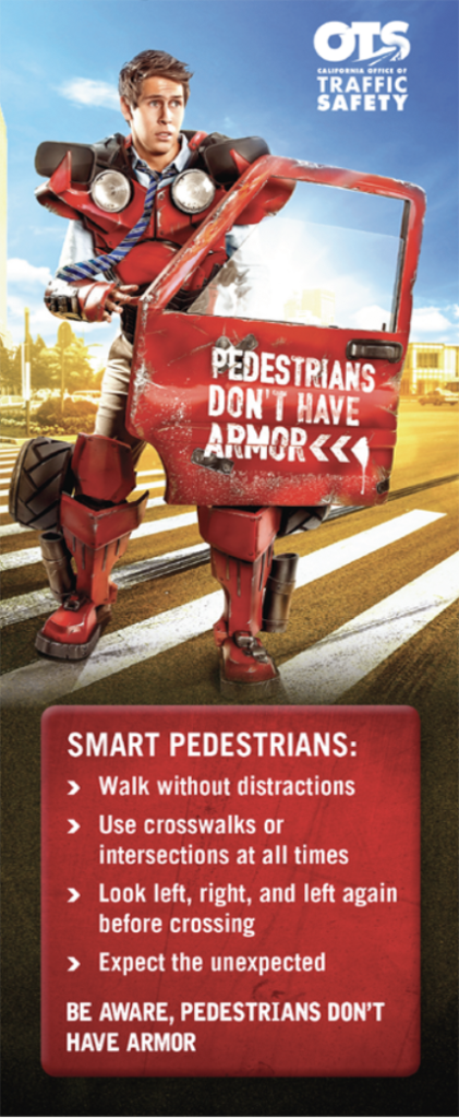 Image of Man in Car Armor - Pedestrians Don't Have Armor Tip Cards