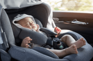 picture of baby in car seat in the the car