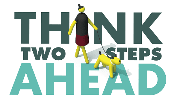 Image of Pedestrian Safety Logo, think two steps ahead
