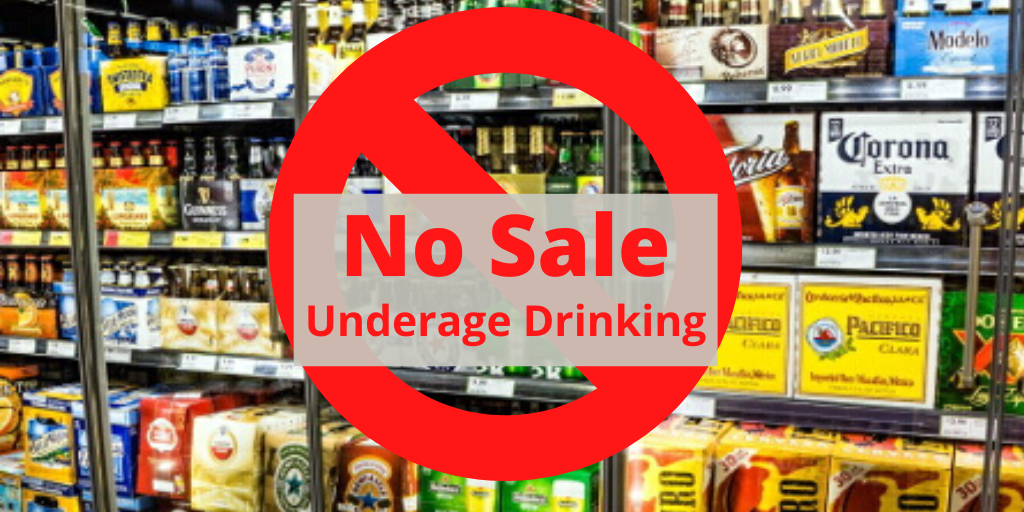 Image of beer in store fridge with a no symbol that says