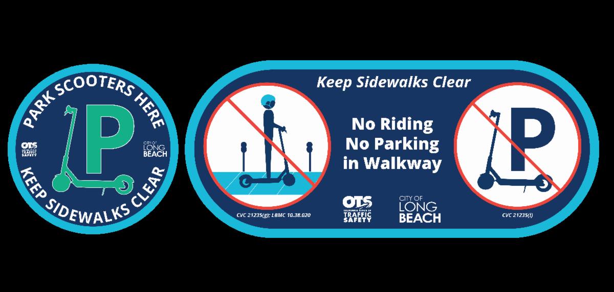 No riding & parking in walkway logo